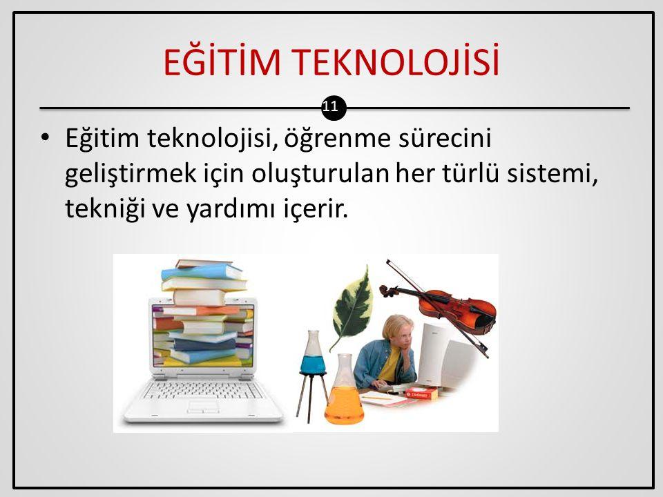 EĞİTİM TEKNOLOJİSİ Eğitim teknolojisi, öğrenme sürecini geliştirmek için oluşturulan her türlü sistemi, tekniği ve yardımı içerir.