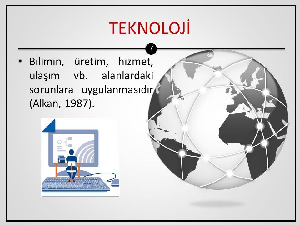 TEKNOLOJİ Bilimin, üretim, hizmet, ulaşım vb. alanlardaki sorunlara uygulanmasıdır (Alkan, 1987).