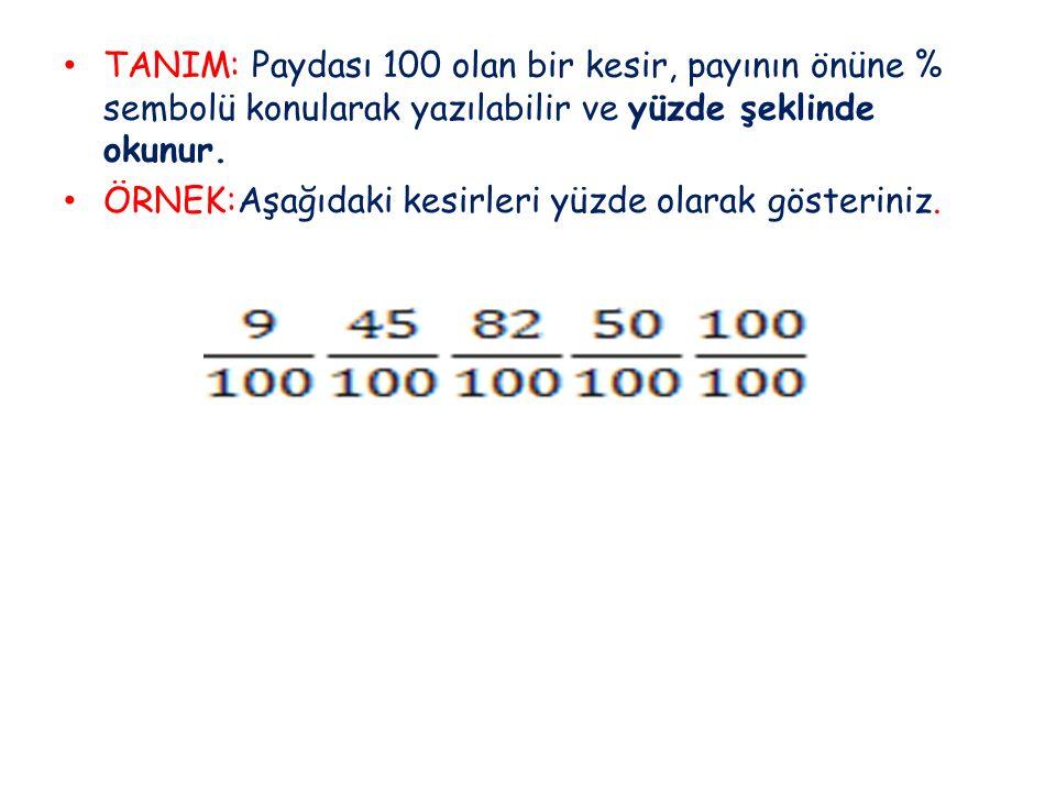 TANIM: Paydası 100 olan bir kesir, payının önüne % sembolü konularak yazılabilir ve yüzde şeklinde okunur.