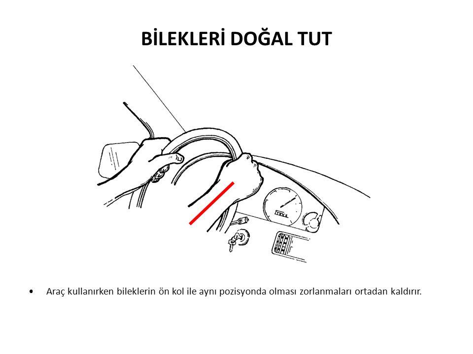 BİLEKLERİ DOĞAL TUT Araç kullanırken bileklerin ön kol ile aynı pozisyonda olması zorlanmaları ortadan kaldırır.