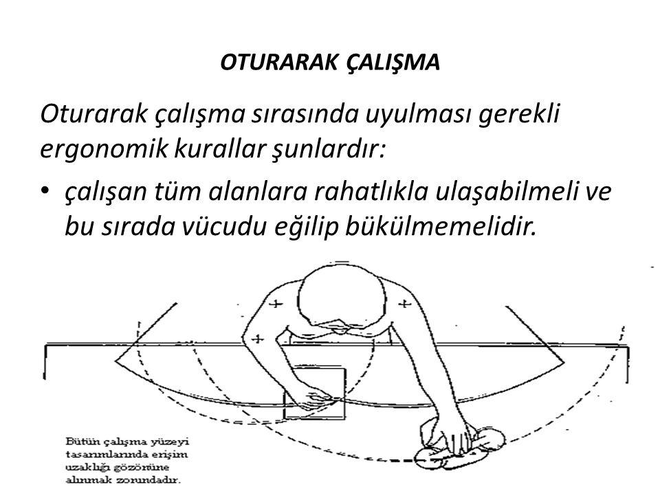 OTURARAK ÇALIŞMA Oturarak çalışma sırasında uyulması gerekli ergonomik kurallar şunlardır: