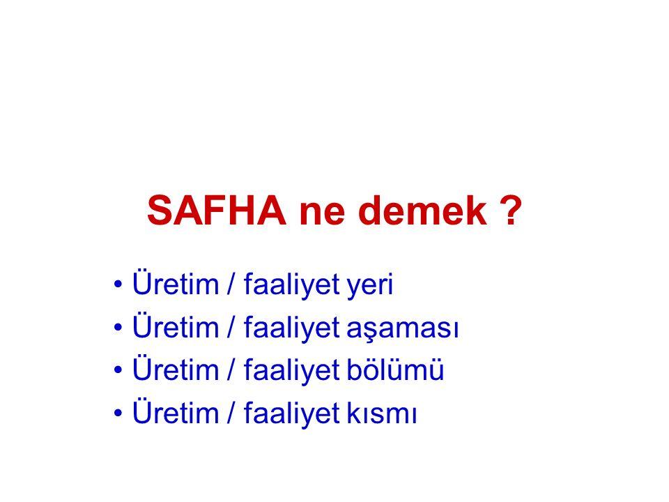 SAFHA ne demek Üretim / faaliyet yeri Üretim / faaliyet aşaması
