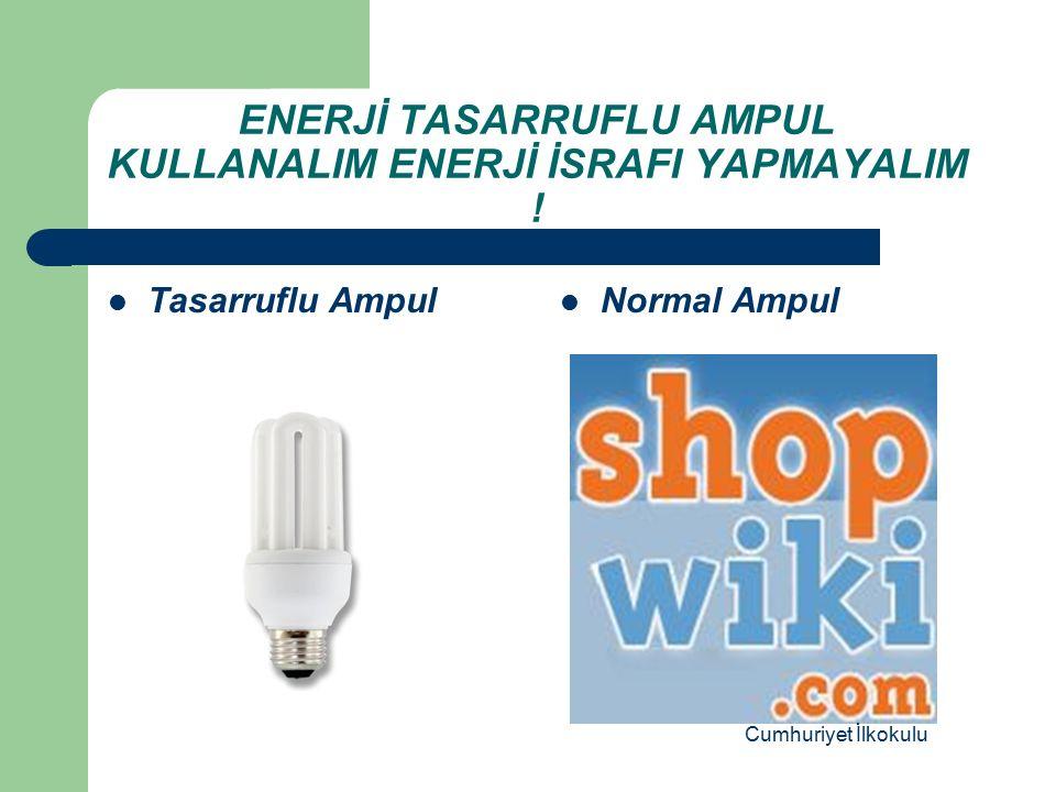 ENERJİ TASARRUFLU AMPUL KULLANALIM ENERJİ İSRAFI YAPMAYALIM !