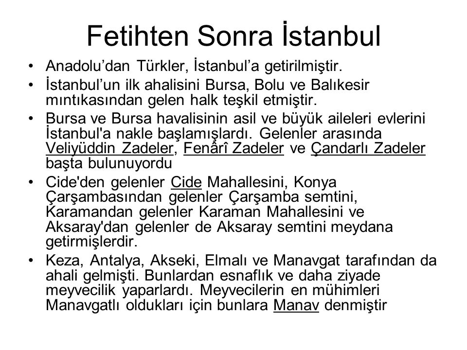 Fetihten Sonra İstanbul