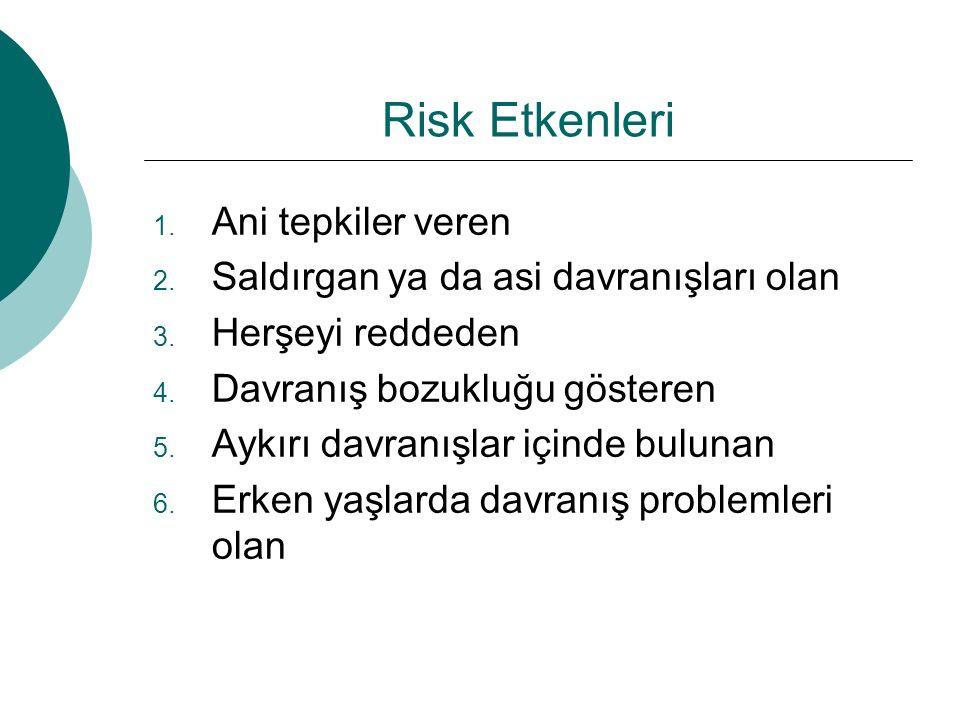 Risk Etkenleri Ani tepkiler veren