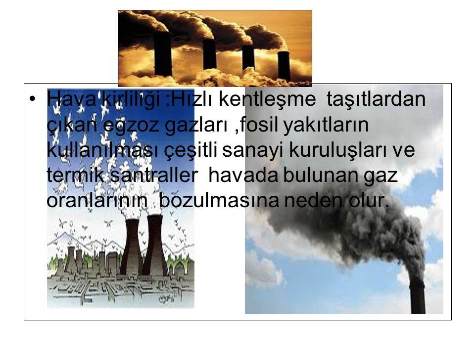 Hava kirliliği :Hızlı kentleşme taşıtlardan çıkan egzoz gazları ,fosil yakıtların kullanılması çeşitli sanayi kuruluşları ve termik santraller havada bulunan gaz oranlarının bozulmasına neden olur.