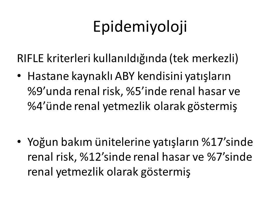 Epidemiyoloji RIFLE kriterleri kullanıldığında (tek merkezli)