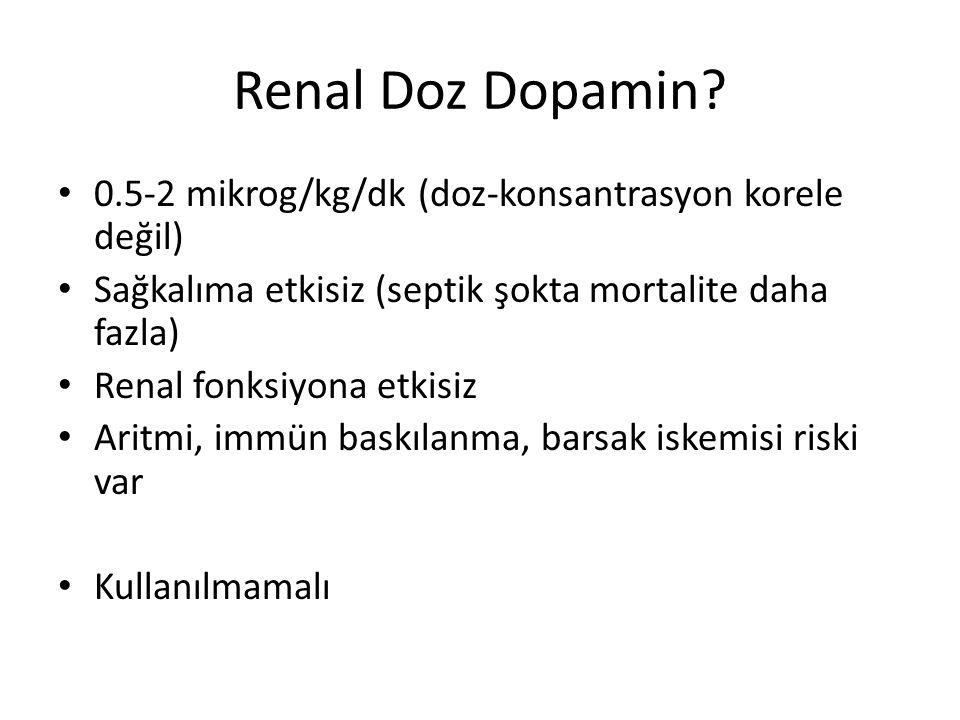 Renal Doz Dopamin 0.5-2 mikrog/kg/dk (doz-konsantrasyon korele değil)