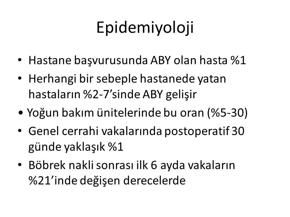 Epidemiyoloji Hastane başvurusunda ABY olan hasta %1