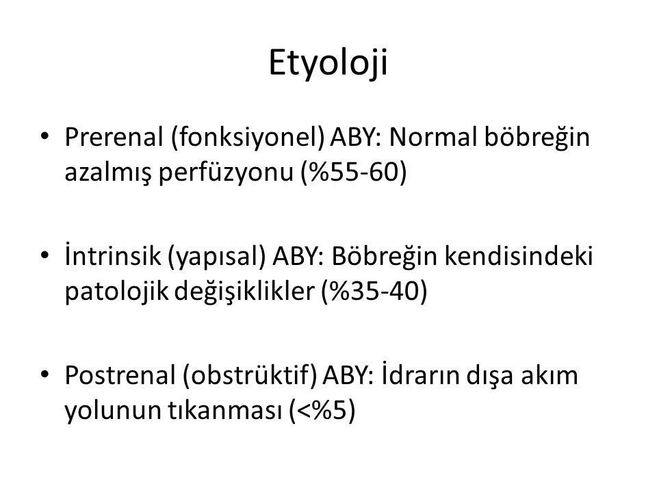 Etyoloji Prerenal (fonksiyonel) ABY: Normal böbreğin azalmış perfüzyonu (%55-60)
