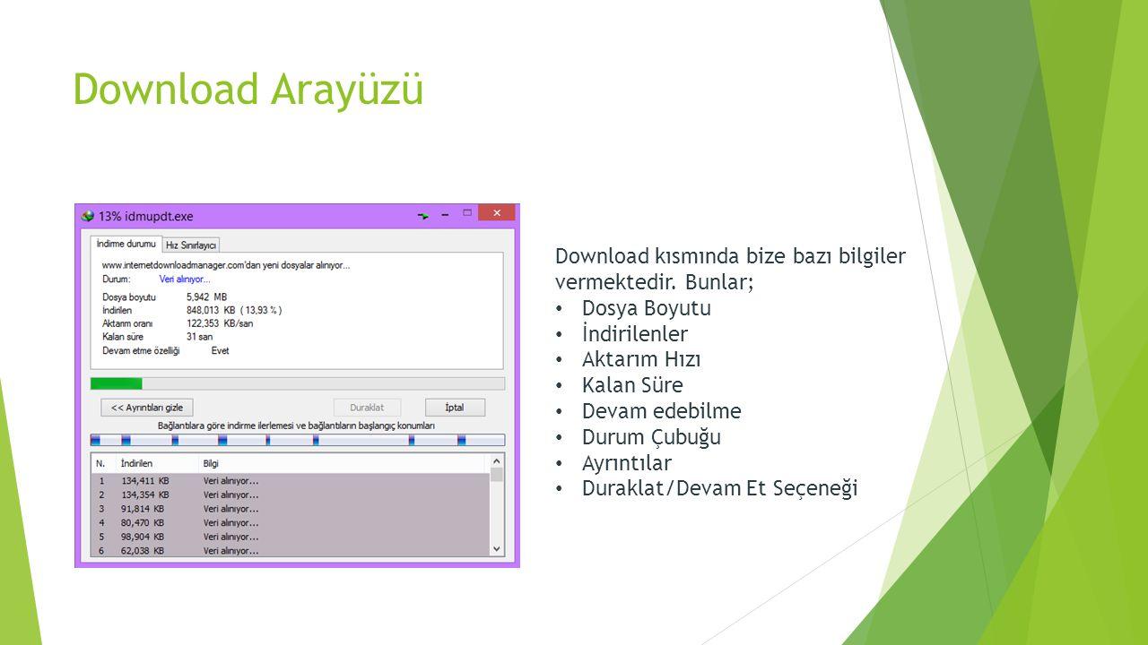 Download Arayüzü Download kısmında bize bazı bilgiler vermektedir. Bunlar; Dosya Boyutu. İndirilenler.