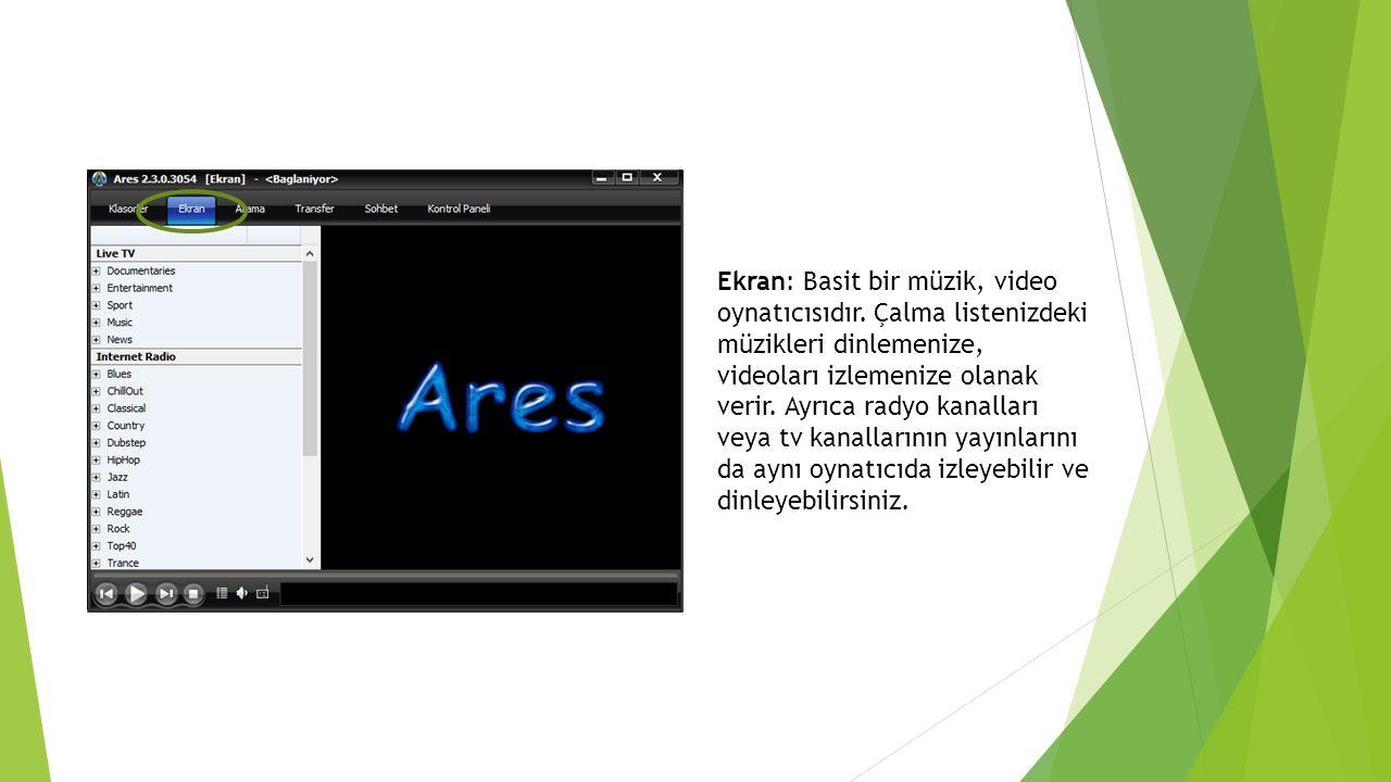 Ekran: Basit bir müzik, video oynatıcısıdır
