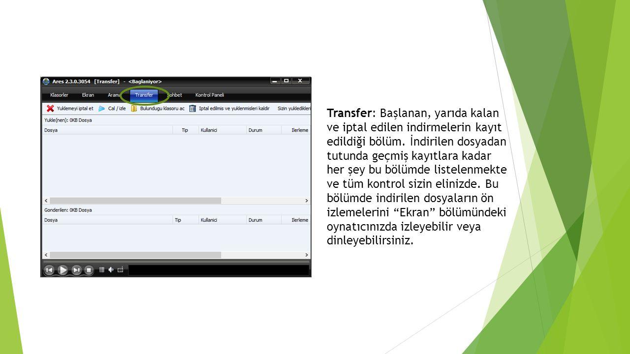 Transfer: Başlanan, yarıda kalan ve iptal edilen indirmelerin kayıt edildiği bölüm.