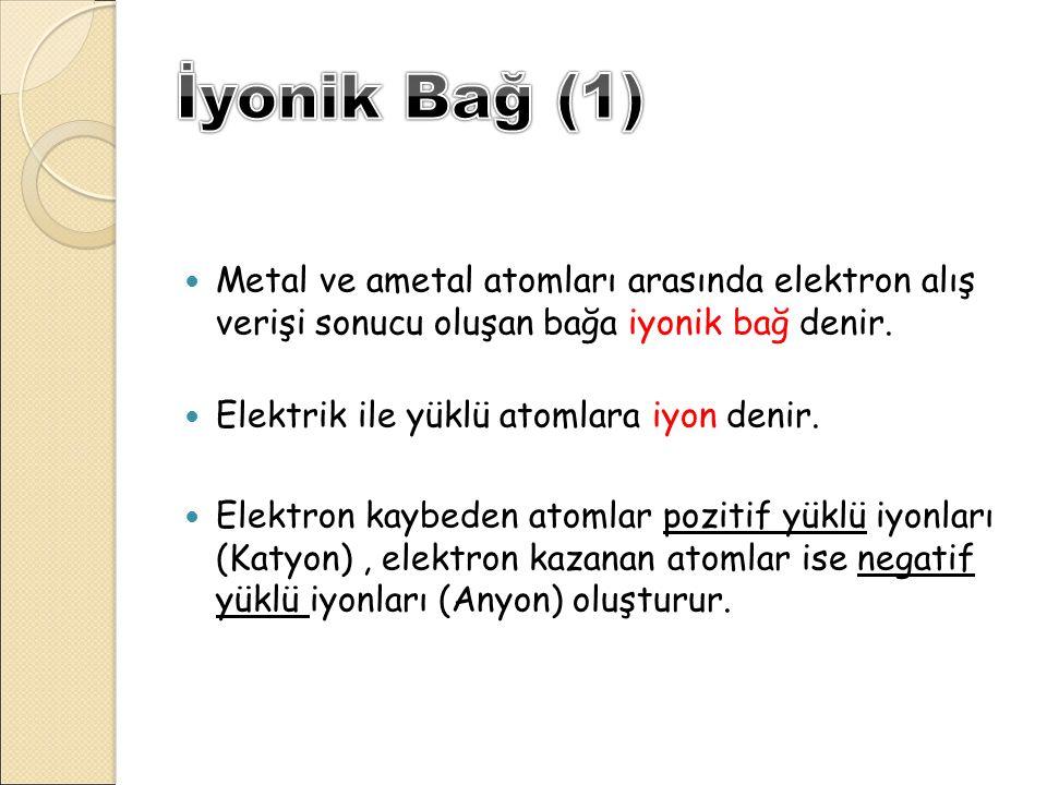 İyonik Bağ (1) Metal ve ametal atomları arasında elektron alış verişi sonucu oluşan bağa iyonik bağ denir.