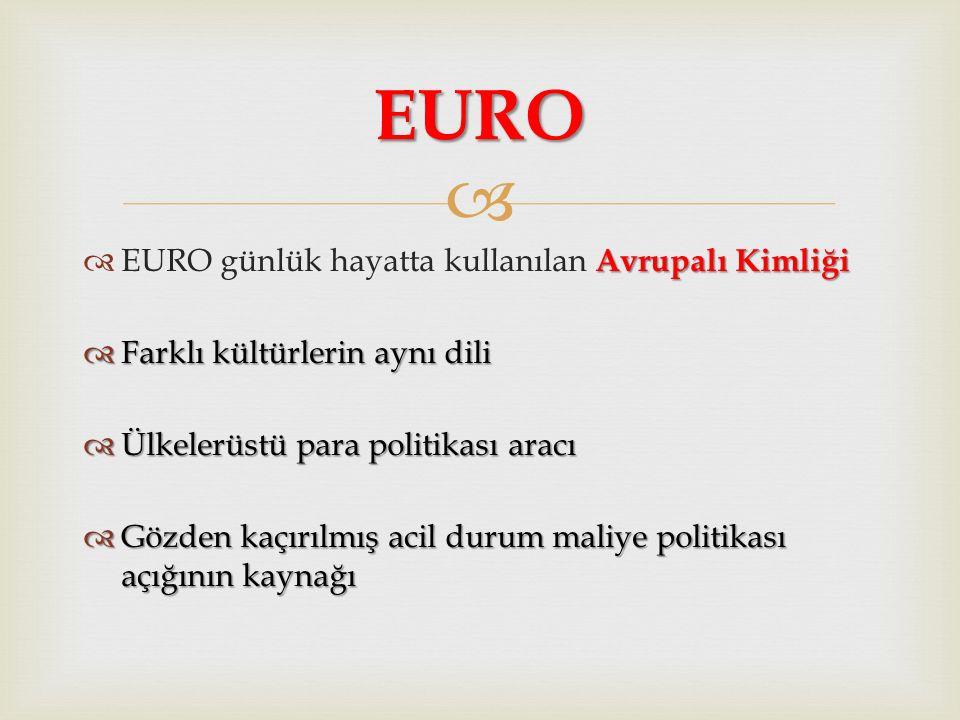 EURO EURO günlük hayatta kullanılan Avrupalı Kimliği