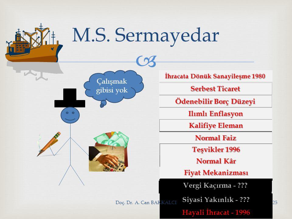 M.S. Sermayedar Hayali İhracat - 1996 Çalışmak gibisi yok