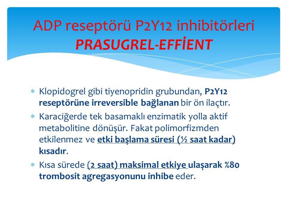 ADP reseptörü P2Y12 inhibitörleri PRASUGREL-EFFİENT