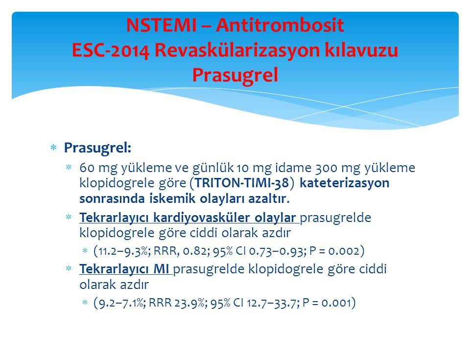 NSTEMI – Antitrombosit ESC-2014 Revaskülarizasyon kılavuzu Prasugrel