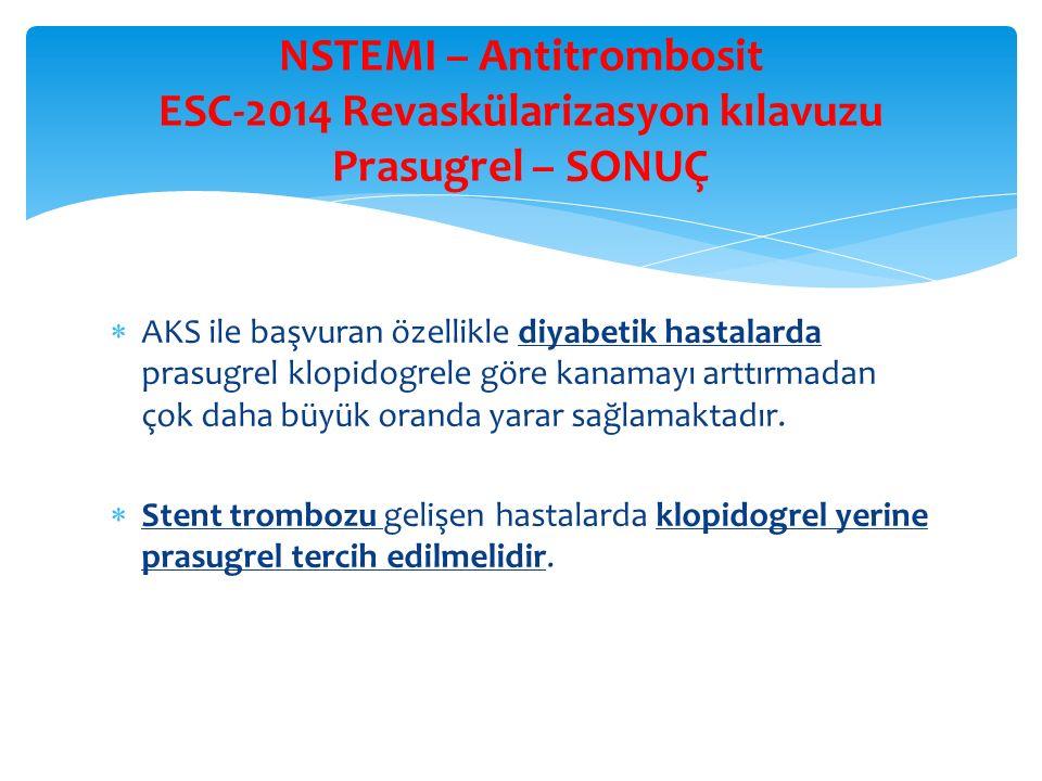 NSTEMI – Antitrombosit ESC-2014 Revaskülarizasyon kılavuzu Prasugrel – SONUÇ