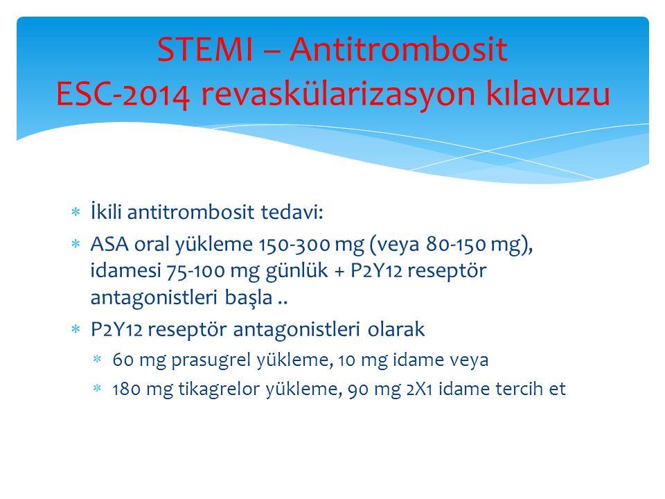 STEMI – Antitrombosit ESC-2014 revaskülarizasyon kılavuzu