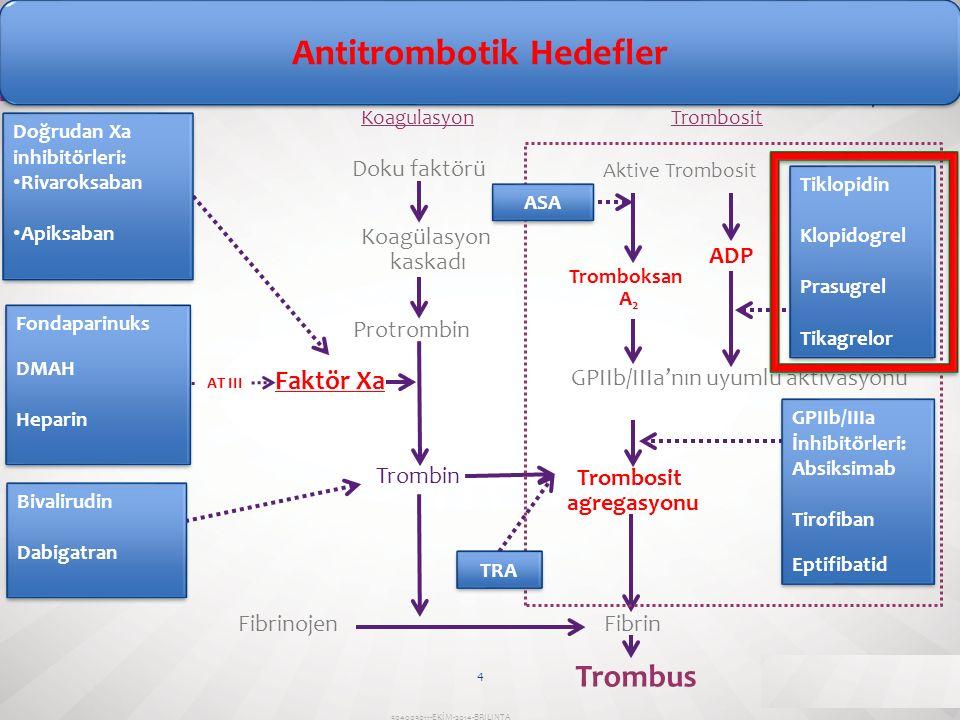 Antitrombotik Hedefler Trombosit agregasyonu