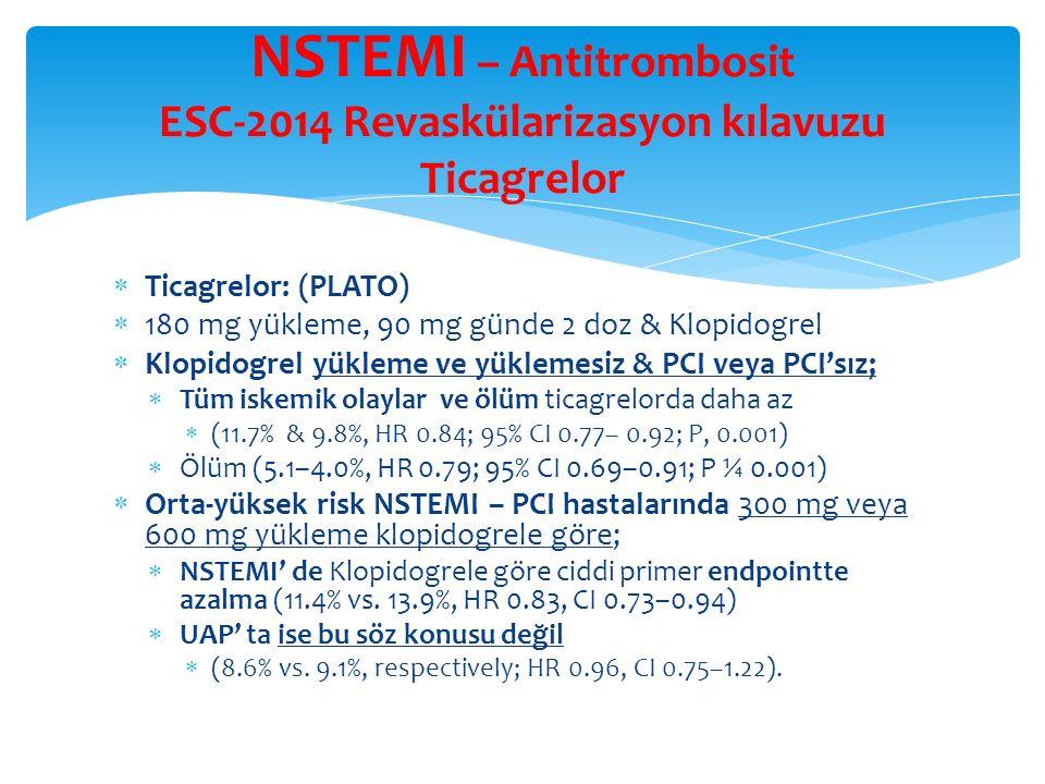 NSTEMI – Antitrombosit ESC-2014 Revaskülarizasyon kılavuzu Ticagrelor