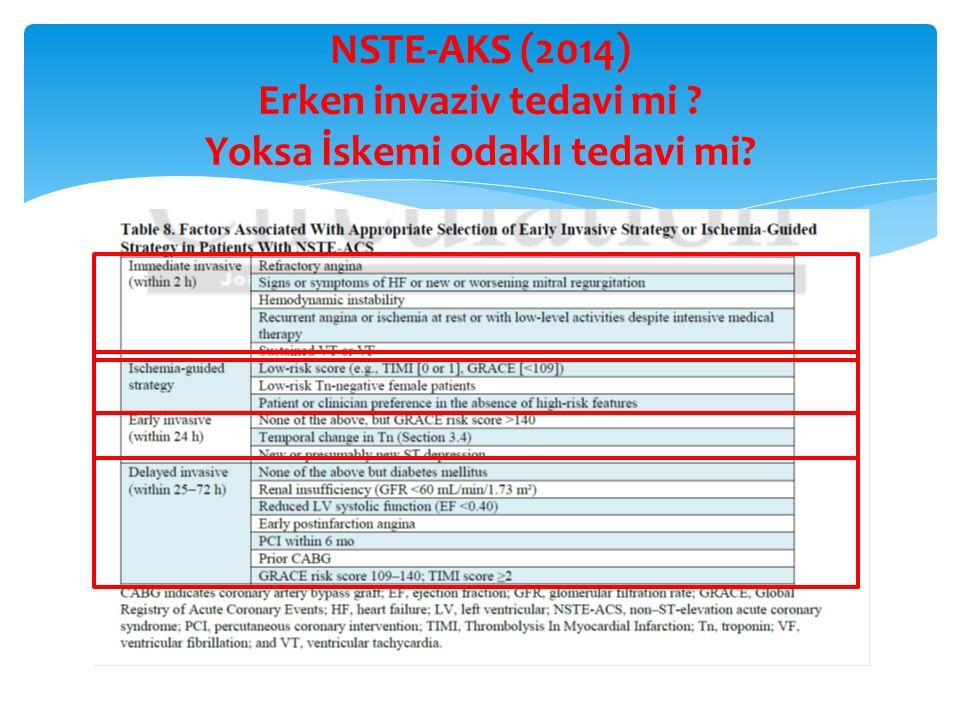 NSTE-AKS (2014) Erken invaziv tedavi mi Yoksa İskemi odaklı tedavi mi