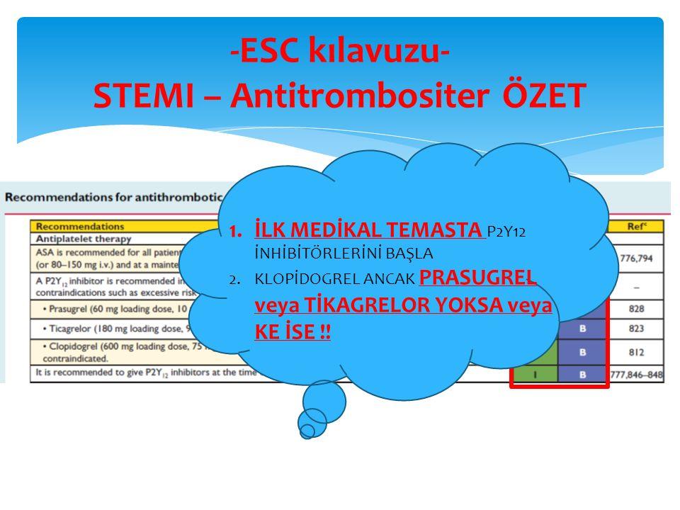 -ESC kılavuzu- STEMI – Antitrombositer ÖZET