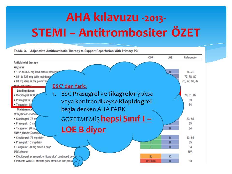 AHA kılavuzu -2013- STEMI – Antitrombositer ÖZET