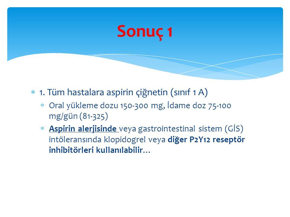 Sonuç 1 1. Tüm hastalara aspirin çiğnetin (sınıf 1 A)