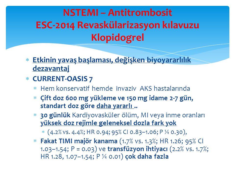 NSTEMI – Antitrombosit ESC-2014 Revaskülarizasyon kılavuzu Klopidogrel