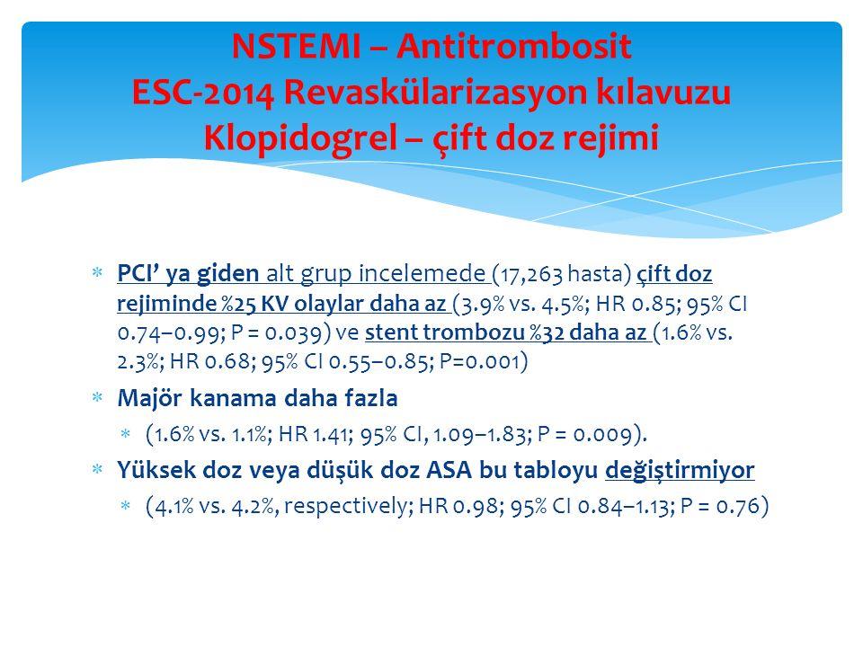 NSTEMI – Antitrombosit ESC-2014 Revaskülarizasyon kılavuzu Klopidogrel – çift doz rejimi