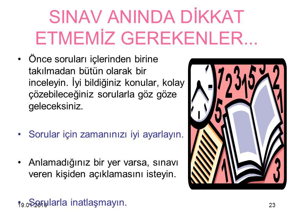 SINAV ANINDA DİKKAT ETMEMİZ GEREKENLER...