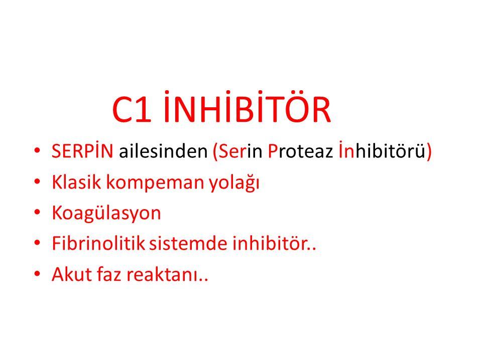 C1 İNHİBİTÖR SERPİN ailesinden (Serin Proteaz İnhibitörü) Klasik kompeman yolağı. Koagülasyon. Fibrinolitik sistemde inhibitör..