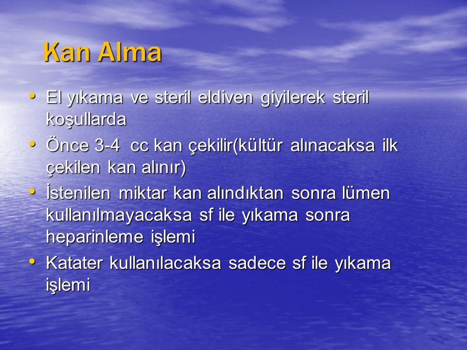 Kan Alma El yıkama ve steril eldiven giyilerek steril koşullarda