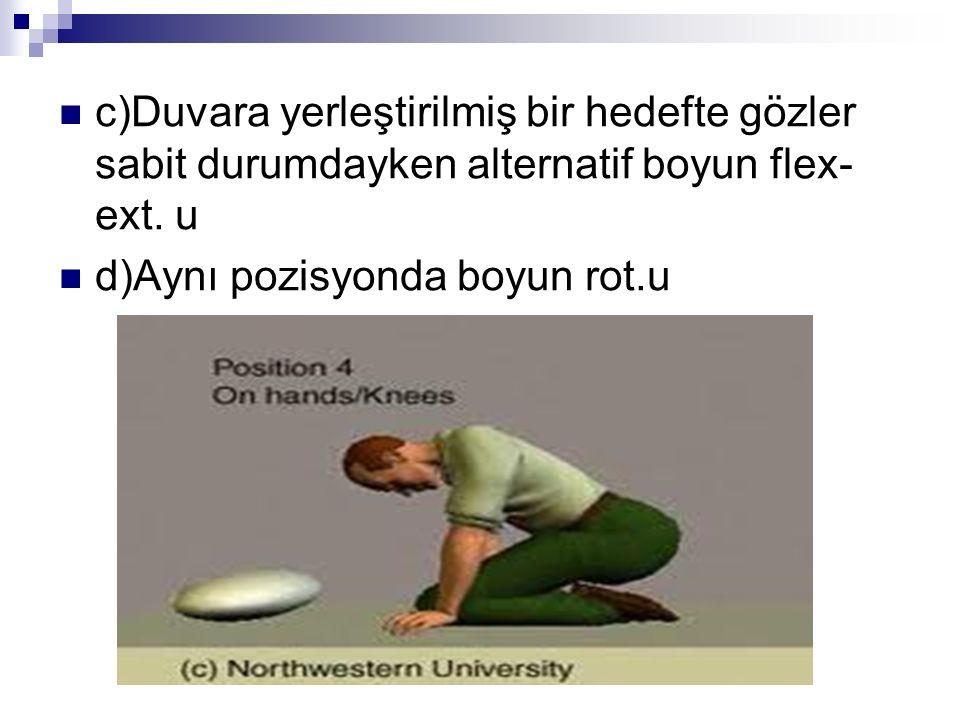c)Duvara yerleştirilmiş bir hedefte gözler sabit durumdayken alternatif boyun flex-ext. u