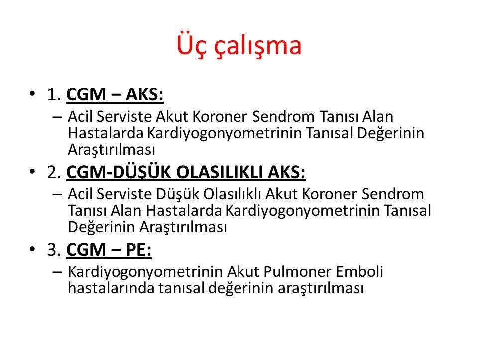 Üç çalışma 1. CGM – AKS: 2. CGM-DÜŞÜK OLASILIKLI AKS: 3. CGM – PE: