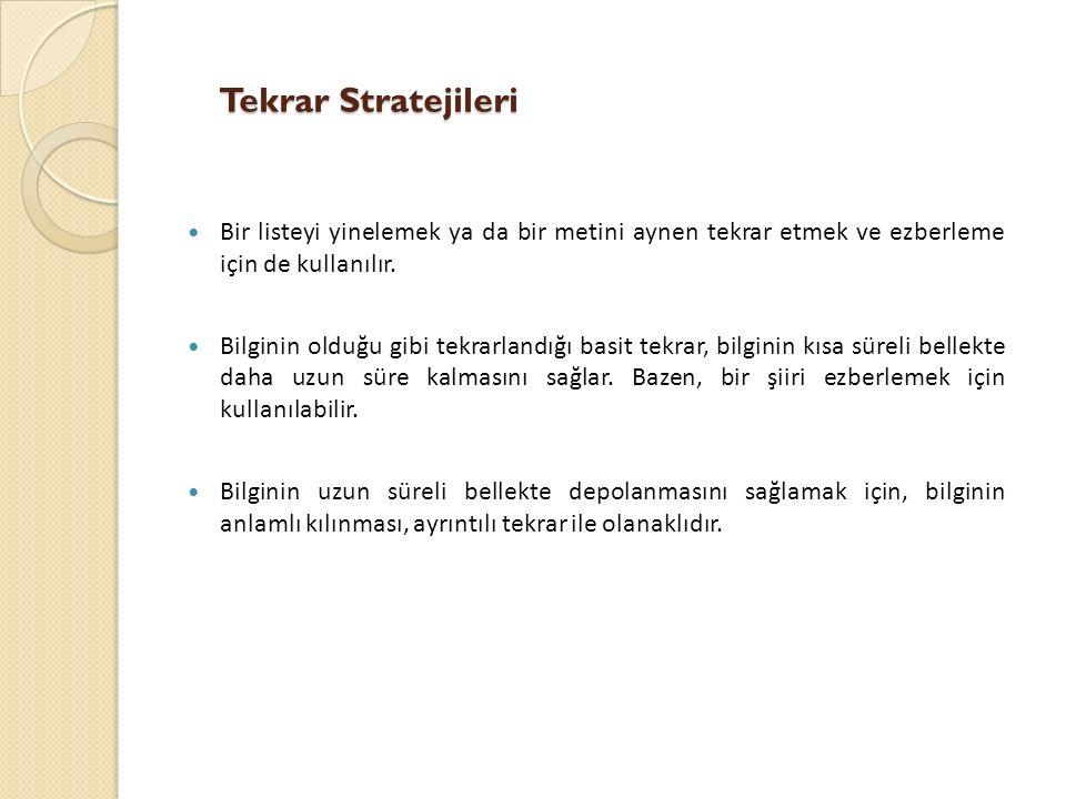 Tekrar Stratejileri Bir listeyi yinelemek ya da bir metini aynen tekrar etmek ve ezberleme için de kullanılır.