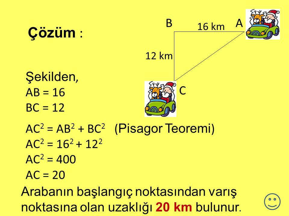 Çözüm : B A Şekilden, AB = 16 BC = 12 C