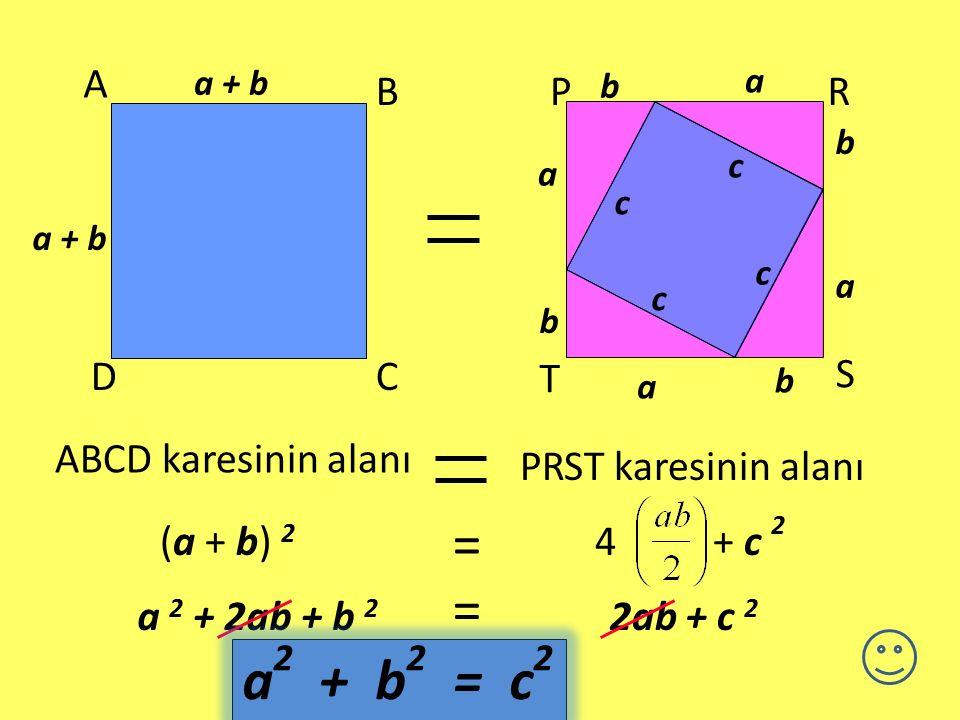 = = a2 + b2 = c2 A B C D P R S T ABCD karesinin alanı