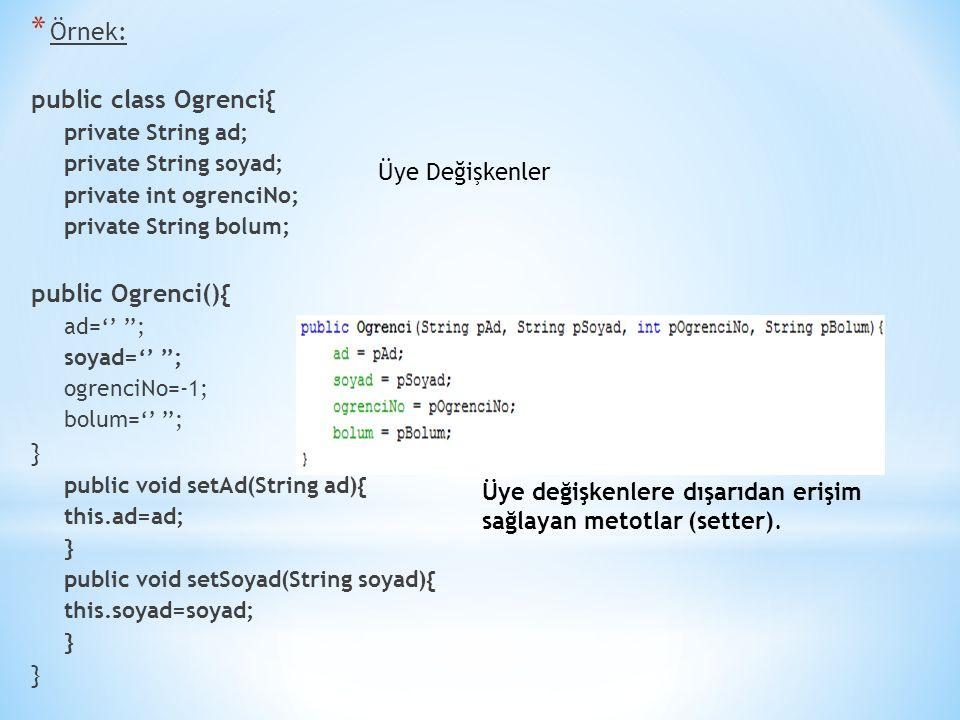 Örnek: public class Ogrenci{ public Ogrenci(){ } Üye Değişkenler