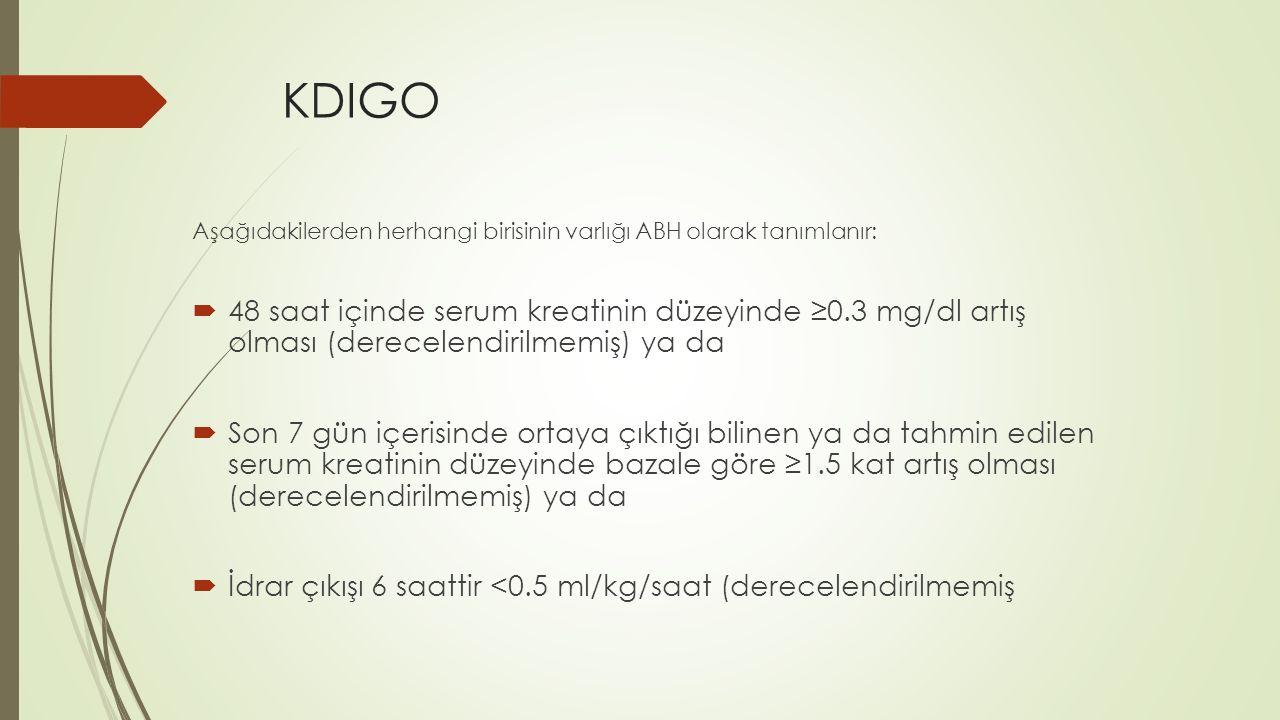 KDIGO Aşağıdakilerden herhangi birisinin varlığı ABH olarak tanımlanır: