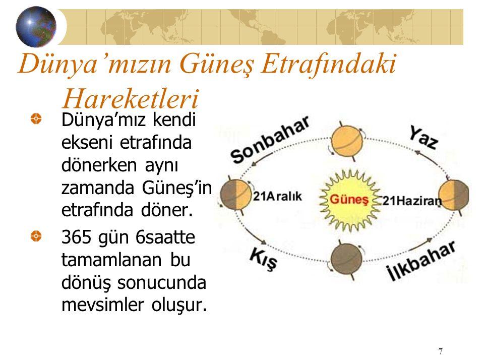 Dünya'mızın Güneş Etrafındaki Hareketleri