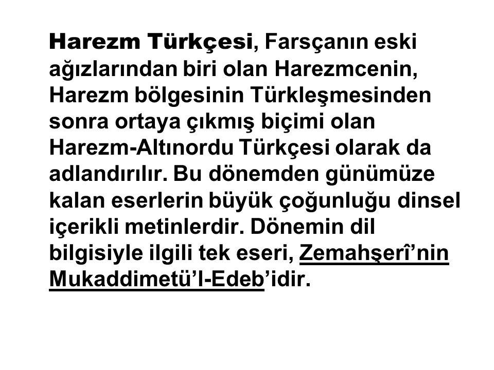 Harezm Türkçesi, Farsçanın eski ağızlarından biri olan Harezmcenin, Harezm bölgesinin Türkleşmesinden sonra ortaya çıkmış biçimi olan Harezm-Altınordu Türkçesi olarak da adlandırılır.