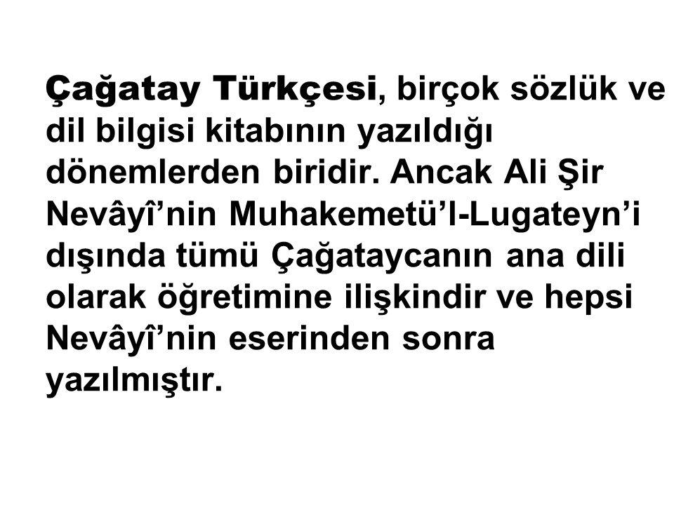 Çağatay Türkçesi, birçok sözlük ve dil bilgisi kitabının yazıldığı dönemlerden biridir.