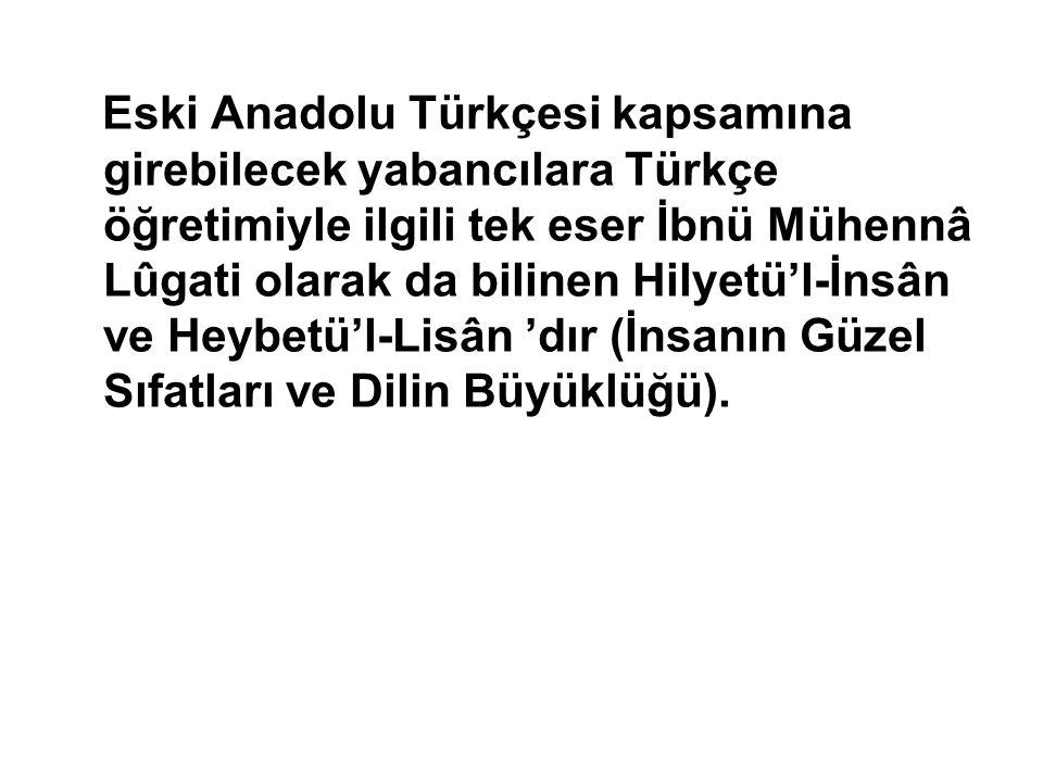 Eski Anadolu Türkçesi kapsamına girebilecek yabancılara Türkçe öğretimiyle ilgili tek eser İbnü Mühennâ Lûgati olarak da bilinen Hilyetü'l-İnsân ve Heybetü'l-Lisân 'dır (İnsanın Güzel Sıfatları ve Dilin Büyüklüğü).