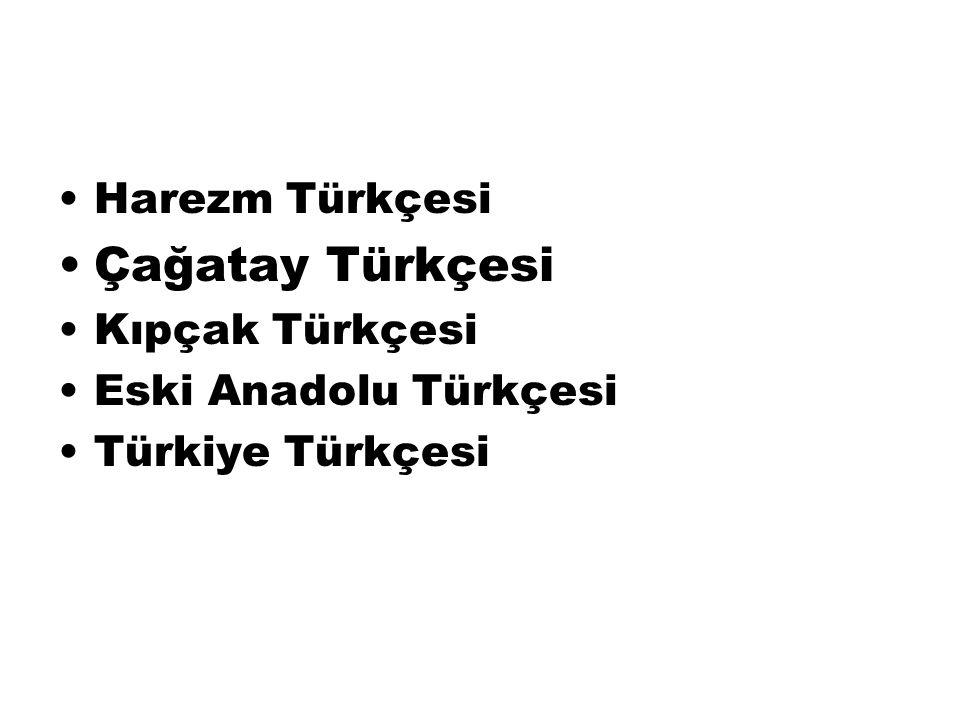 Çağatay Türkçesi Harezm Türkçesi Kıpçak Türkçesi Eski Anadolu Türkçesi
