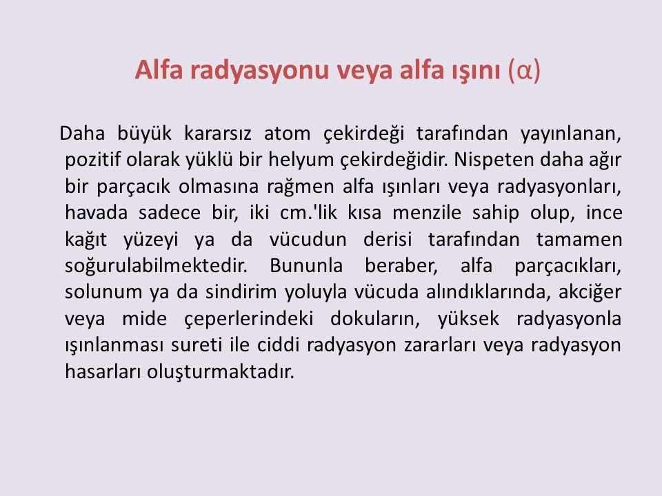 Alfa radyasyonu veya alfa ışını (α)