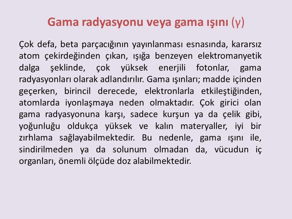 Gama radyasyonu veya gama ışını (γ)