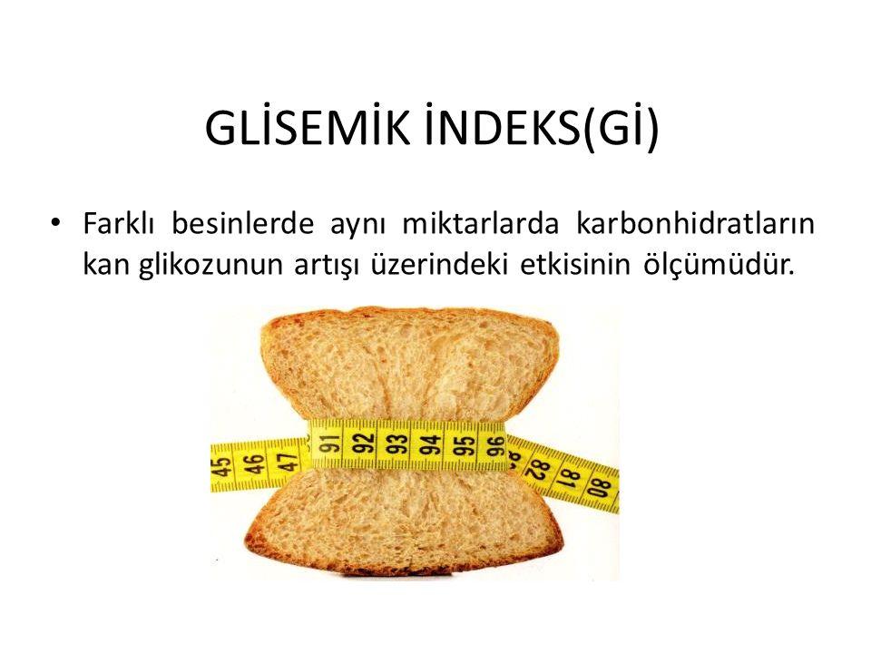GLİSEMİK İNDEKS(Gİ) Farklı besinlerde aynı miktarlarda karbonhidratların kan glikozunun artışı üzerindeki etkisinin ölçümüdür.